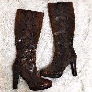 NWT Impo Brown Faux Snakeskin Tall Boots 5.5